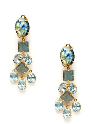 Bounkit Labradorite and  Blue Quartz Drop Earrings