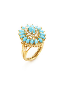 Vintage Diamond and Turquoise Ring
